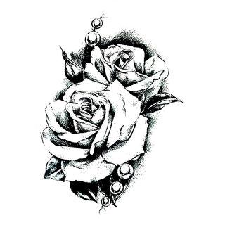 Buy 3d Temporary Tattoo Sticker Big Black Roses Design For Men Women