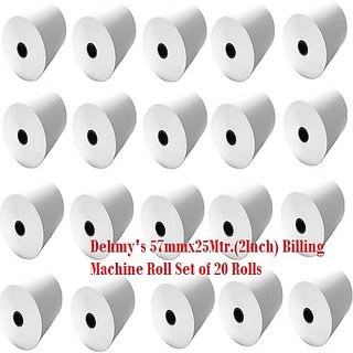 MM Enterprises 57MMx25Mtr(2Inch) Billing Machine Thermal Paper roll (Set of 20 Rolls)