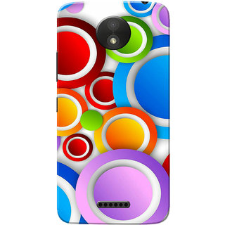 Moto C Plus Case, Multi Colour Circles White Slim Fit Hard Case Cover/Back Cover for Motorola Moto C Plus