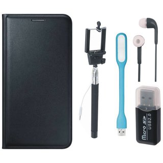 Redmi Note 4 Leather Cover with Memory Card Reader, Selfie Stick, Earphones and USB LED Light
