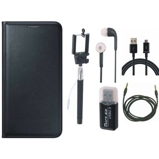 Redmi Note 4 Premium Leather Cover with Memory Card Reader, Selfie Stick, Earphones, USB Cable and AUX Cable