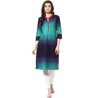 AANVI Womens Multi Cambric Tie dye Printed Straight Kurta