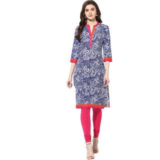 AANVI Womens Blue Cotton Printed Straight Kurta