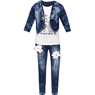 3bf763d7602 Buy Arshia fashions Girls Party Wear Top Jeans and Jacket set Online ...