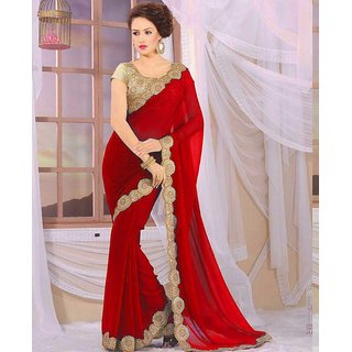 Meia Red Georgette Embroidered Saree With Blouse