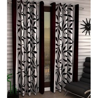 Designer Brown Color Eyelet Polyester Curtain Window Length (Set of 5 Pcs) 60x48