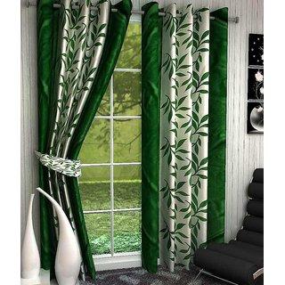 Designer Green Color Eyelet Polyester Curtain Window Length (Set of 3 Pcs) 60x48