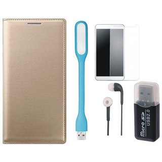 Samsung J7 Prime Flip Cover with Memory Card Reader, Tempered Glass, Earphones and USB LED Light
