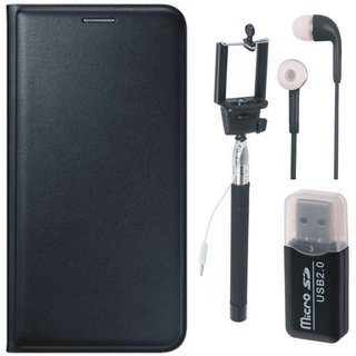Moto C Plus Leather Cover with Memory Card Reader, Selfie Stick and Earphones