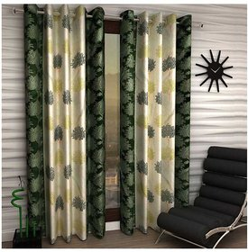Designer Green Color Eyelet Polyester Curtain Window Length (Set of 2 Pcs) 60