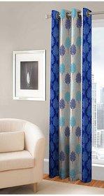 Designer Turquoise Color Eyelet Polyester Curtain Window Length (Set of 1 Pcs) 60x48
