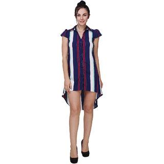 Klick2Style Shirt Collar High Low Stripe Dress Navy Blue