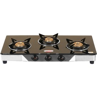 brightflame 3 Burner Black Glass Stove - Tulip Series