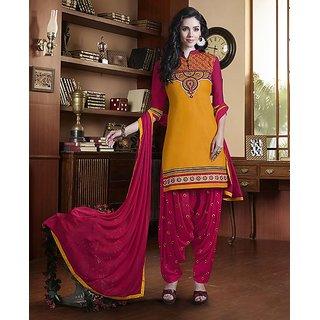 Wilori New Arrivel Rust Orange Cotton Patiyala Dress Material (Unstitched)