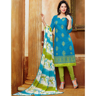 Wilori Charming Blue Cotton Straight Fit Dress Material (Unstitched)