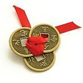 Feng Shui 3 Lucky Coins Tied Red Ribbon Luck Wealth
