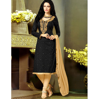 Wilori New Amazing Black Chanderi Cotton Straight Fit Dress Material (Unstitched)