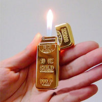 Gold Plated Gold Biscuit Type Cigarate Lighter