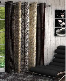 Designer Brown Color Eyelet Polyester Curtain Window Length (Set of 1 Pcs) 60