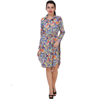 Klick2Style Shirt Collar Abstract Print High Low Multi Color Dress