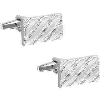 SOLZ Silver Rectangle Strips Cufflinks With Silver Finish