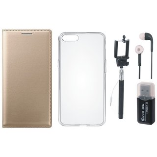 Moto E4 Plus Flip Cover with Memory Card Reader, Silicon Back Cover, Selfie Stick and Earphones