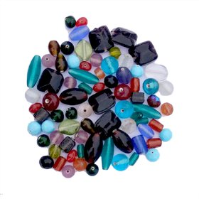 Multicolor and Mix Shaped Plain Glass Beads for making Jewelry and for Decoration purpose (PEBBLES-GL-4-400GM)