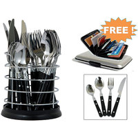 Lumina 24 Pcs Stainless Steel Cutlery With Free Aluminium Credit Card Holder