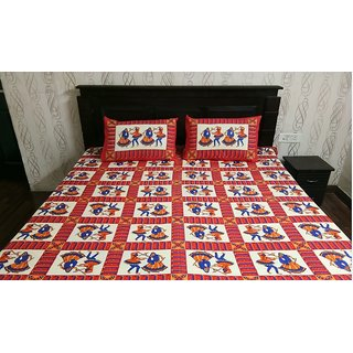 Cotton Double Bed Sheet with 2 Pillow covers