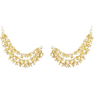 JewelMaze Gold Plated Pearl Pair of Kan Chain -AAA2324