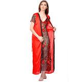 1f1c07b562 Boosah Red Satin Plain Night Gowns   Nighty - (Pack of 2)