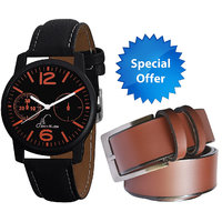Combo Of Black Round Dial Strap Analogue Wrist Watch An