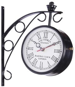 Iron Black Finish Double Sided Station Wall Clock/ Retro Wall Clock- 6 inches
