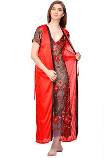 Boosah Red Satin Plain Night Gowns & Nighty - (Pack of 2)