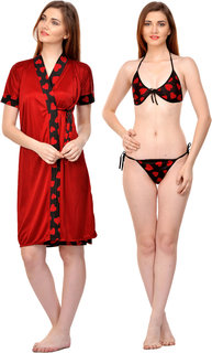 Boosah Multicolor Satin Printed Nightwear Sets - (Pack of 3)