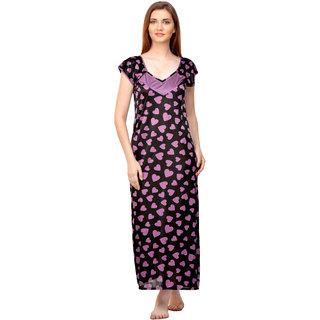 Boosah Multicolor Satin Printed Night Gowns & Nighty