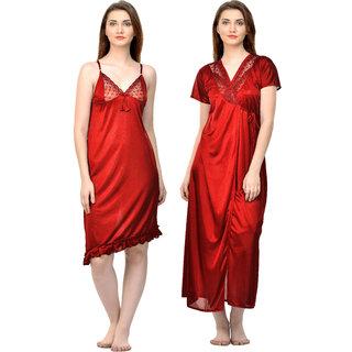 61aa4e86eb Buy Boosah Red Satin Plain Nightwear Sets - (Pack of 2) Online - Get ...