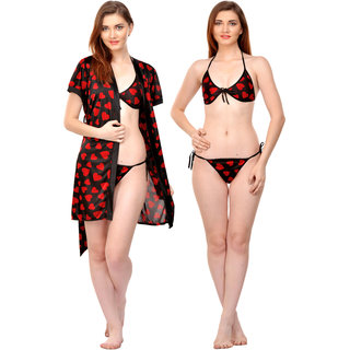 Boosah Multicolor Satin Printed Nightwear Sets - (Pack of 3)