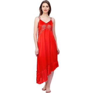 Boosah Red Satin Plain Night Gowns & Nighty