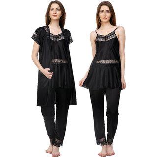 Boosah Black Satin Plain Pyajama Set