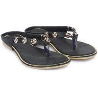 Do Bhai Womens Flat Black Sandals