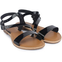 Do Bhai Womens Flat Black Sandals - 124838454