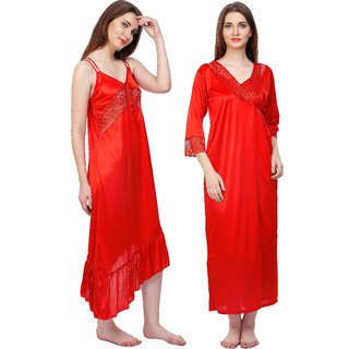d3d80d8412a Boosah Red Satin Plain Nightwear Sets - (Pack of 2)