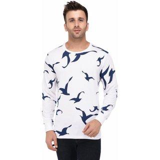 Vivid Bharti White Round Neck Full Sleeve Blue bird Print T-shirt