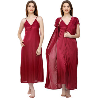 f50c656d97 Buy Boosah Red Satin Plain Nightwear Sets - (Pack of 2) Online - Get ...