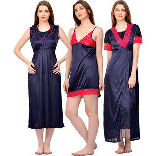 Boosah Dark Blue Satin Plain Nightwear Sets - (Pack of 3)