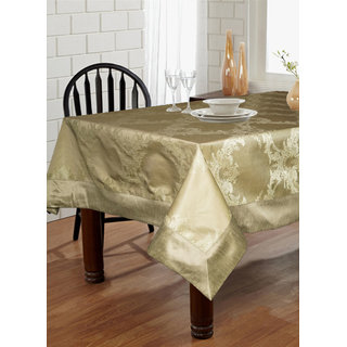 Lushomes Natural Pattern 1 Jacquard 6 Seater Table Cloth with High Quality Polyester Border (Size: 60 x90 ) single piece