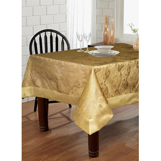 Lushomes Gold Pattern 2 Jacquard 6 Seater Table Cloth with High Quality Polyester Border (Size: 60