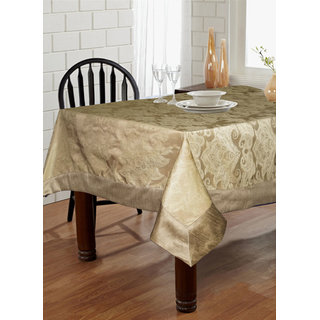 Lushomes Natural Pattern 2 Jacquard 6 Seater Table Cloth with High Quality Polyester Border (Size: 60 x90 ) single piece