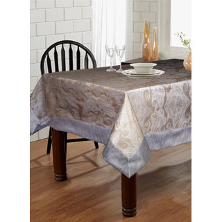Lushomes Warm Silver Pattern 2 Jacquard 6 Seater Table Cloth with High Quality Polyester Border (Size: 60 x90 ) single piece